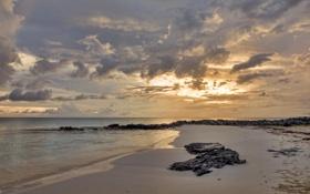 Картинка песок, море, облака, закат, природа, камни, берег