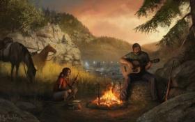Обои огонь, гитара, вечер, лошади, костер, Элли, Joel