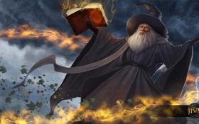 Обои шляпа, арт, маг, книга, заклинание, волшебник, heroes of newerth