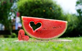 Картинка сердце, арбуз, урожай, ягода