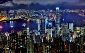 Картинка вода, ночь, город, огни, Гонконг, небоскребы, Hong Kong