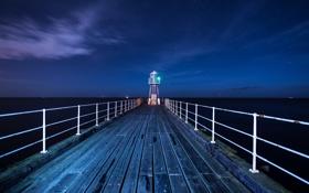Картинка море, ночь, маяк, пирс