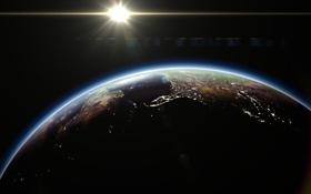 Обои earth, космос, восход, огни, планета, sun, planet