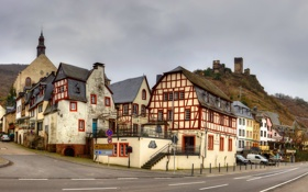 Обои город, улица, дома, Германия, дорога небо, Байльштайн