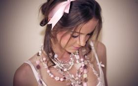 Обои девушка, украшения, розовый, нежность, веснушки, бантик, Pink bight