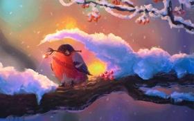 Обои снегирь, рябина, птица, дерево, зима, арт, снег