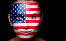 Картинка USA, ФОН, ВЗГЛЯД, ЧЁРНЫЙ, ЛИЦО, ФЛАГ, АМЕРИКА