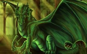 Картинка лес, деревья, зеленый, дракон, росток, монстр, арт