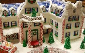 Картинка Рождество, Новый год, еда, настроение, домик, пряничный, зима