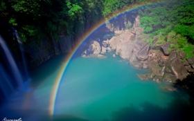 Картинка лес, пейзаж, озеро, водопад, радуга