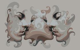 Обои девушка, абстракция, стиль, фон, обои, поцелуй, вектор