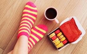 Обои ноги, носки, макарун, macaron, coffee, кофе, печенье