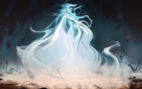 Обои девушка, камни, дух, арт, Skyrim, полупрозрачная, Wisp Mother