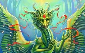 Картинка глаза, фантастика, китайский, ленточки, дракон, крылья, зеленый