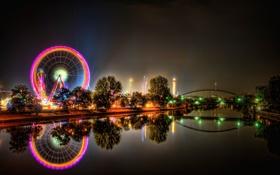 Обои ночь, огни, Город, колесо обозрения
