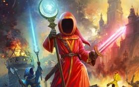 Картинка огонь, маги, сражение, посох, волшебники, меч, Magicka 2