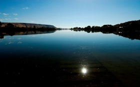 Картинка солнце, озеро, отражение