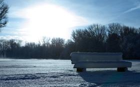 Картинка в снегу, искрится, скамья, день, bench, зима, снег
