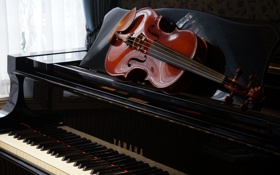 Обои музыка, пианино, скрипка