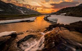 Картинка снег, пейзаж, закат, горы, река
