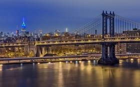 Картинка ночь, мост, огни, Нью-Йорк, Манхеттен, США