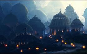 Картинка фонари, скульптуры, сумерки, вечер, купола, путники, дорога