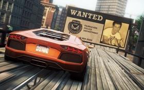 Обои город, гонка, суперкар, трюк, need for speed most wanted 2, рекламный щит, lamborghini aventador lp-700-4
