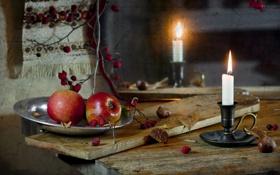 Обои яблоки, Still Life, текстура, свеча, стол, плоды шиповника, царапины