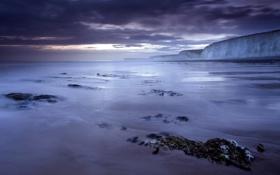 Картинка море, пейзаж, ночь, берег