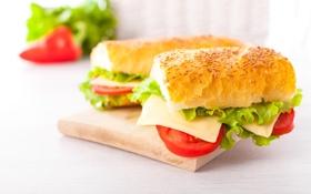 Обои Овощи, Еда, Булочки, Фастфуд, Сыры, Бутерброд