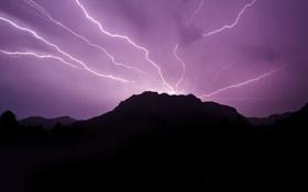 Обои гроза, небо, молния, силуэты