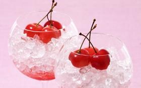 Картинка лед, вишня, ягоды, бокал, лёд, бокалы, коктейль