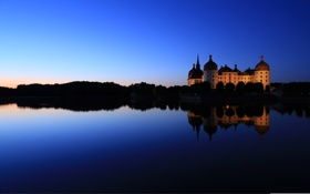 Обои ночь, река, красота, beauty, Замок Морицбург, Schloss Moritzburg, the night the river