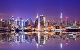 Обои небо, свет, отражения, огни, Нью-Йорк, вечер, USA
