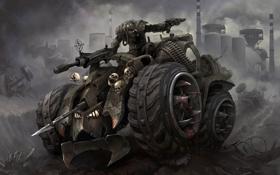 Обои будущее, оружие, кровь, ДПС, черепа, разруха, боец