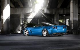 Обои синий, мост, Z06, Corvette, Chevrolet, шевроле, blue