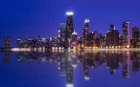 Обои Chicago, Night, Skyline, Colors, Photography, Lake, Michigan