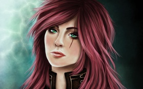 Обои League of Legends, Katarina, лицо, арт, фон, девушка