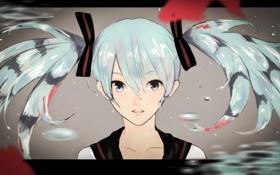 Обои вода, девушка, капли, рыбки, лицо, vocaloid, hatsune miku