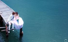 Обои мост, озеро, настроение, свадьба