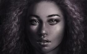 Обои взгляд, лицо, волосы, арт, губы, кудри