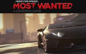 Картинка надпись, гонки, Lamborghini Aventador, need for speed most wanted 2