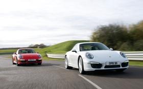 Обои 911, Porsche, Carrera 4, red, white, Coupe, Carrera 4S