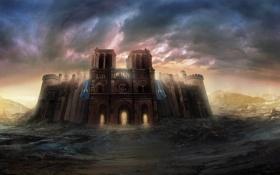 Картинка солнце, тучи, город, замок, скалы, арт, арки