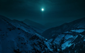 Обои снег, пейзаж, горы, ночь, луна, Iran, Alborz mountains
