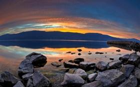 Обои вода, солнце, горы, природа, камни, фото, обои