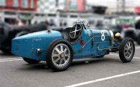 Обои синий, ретро, Bugatti, болид, гоночный, 35B