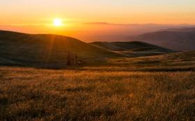 Картинка простор, пейзаж, горизонт, небо, солнце, холмы, дымка