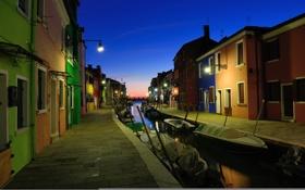 Картинка небо, Венеция, ночь, канал, лодки, огни, дома
