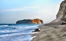 Картинка море, небо, скала, океан, берег, камень, волна